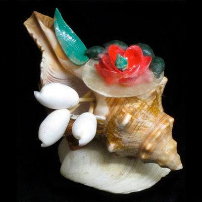 Palillero conchas flor