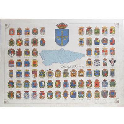 Póster con los escudos de los Concejos de Asturias