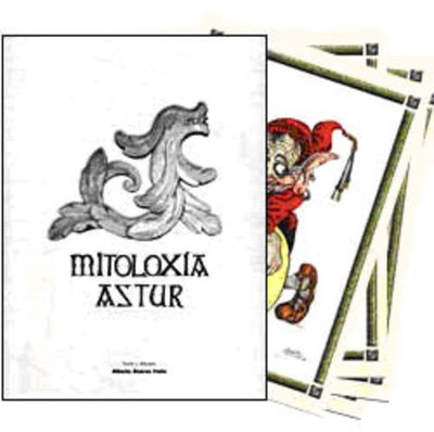 Carpeta Mitología asturiana con cuatro láminas