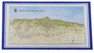Mapa Asturias relieve  ( marco azul )